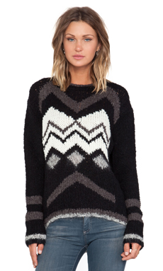 Velvet by Graham & Spencer Jubilee Chevron Sweater in Black & Cream