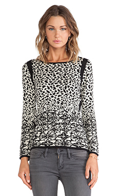 Velvet by Graham & Spencer Hayden Snow Leopard Jacquard Sweater in Black & Cream