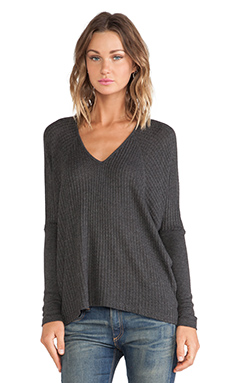 Velvet by Graham & Spencer Maxella Thermal Knit Vneck in Anthracite