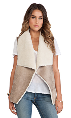 Velvet by Graham & Spencer Nia Faux Fur Vest in Camel
