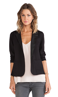 Velvet by Graham & Spencer Frula Ponti w/ Faux Leather Jacket in Black