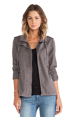 Velvet by Graham & Spencer Rida Cotton Twill Jacket in Smoke