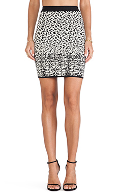 Velvet by Graham & Spencer Izella Snow Leopard Jacquard Skirt in Black & Cream