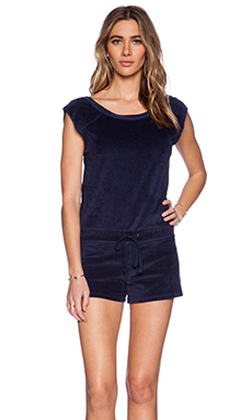 Velvet by Graham & Spencer Velour French Terry Barnett Romper in Navy