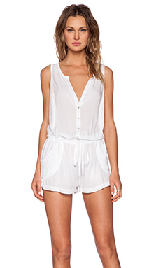 Velvet by Graham & Spencer Slub Rayon Challis Fleur Romper in White