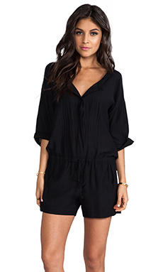 Lily Aldridge for Velvet Tracey Cotton Sateen Romper in Black