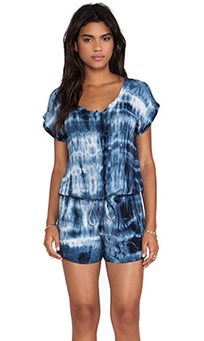 Velvet by Graham & Spencer Tie Dye Rayon Voile Romper in Twinkle