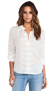 Velvet by Graham & Spencer Blanche Embroidered Cotton Voile Top in Off White