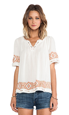 Velvet by Graham & Spencer Milie Cotton Gauze Embroidery Top in White