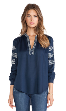 Velvet by Graham & Spencer Calli Embroidered Rayon Challis Top in Navy