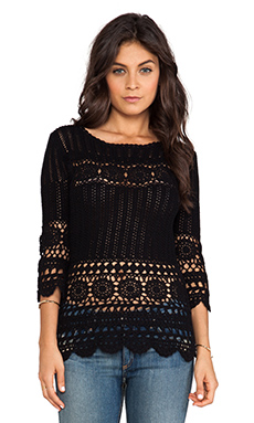 Velvet by Graham & Spencer Vintage Agnese Crotchet Top in Black