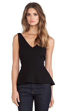 Velvet by Graham & Spencer Belsey Solid Ponti Peplum Tank in Black