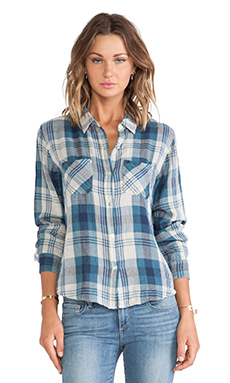 Velvet by Graham & Spencer Adrianna Cotton Double Face Plaid Shirt in Blue