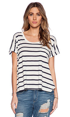 Velvet by Graham & Spencer Modal / Cotton Stripe Knit Tiki Tee in Cream