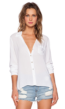 Velvet by Graham & Spencer Rayon Challis Faye Button Up in White