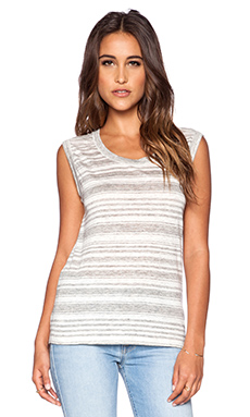Velvet by Graham & Spencer Heather Stripe Linen Lada Dress in Heather Grey