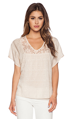 Velvet by Graham & Spencer Damask Voile Kenley Top with Lace in Blush