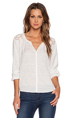 Velvet by Graham & Spencer Lace Damask Voile Lorica Top in White
