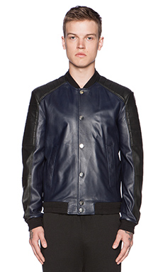 VERSACE Baseball Leather Jacket in Black/Navy