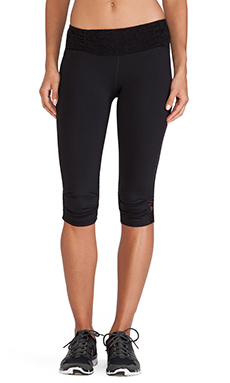 Vimmia Ruched Lace Waist Capri in Black