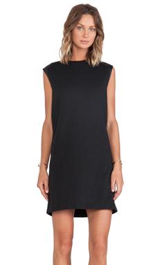 Vince Leather Shoulder Dress in Black