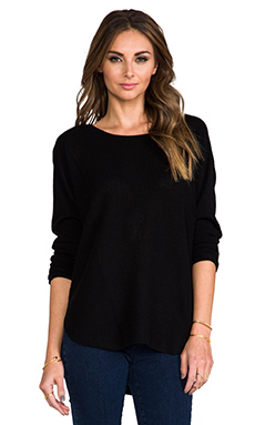 Vince Cashmere Rack Stitch Shirt Tail Sweater in Black