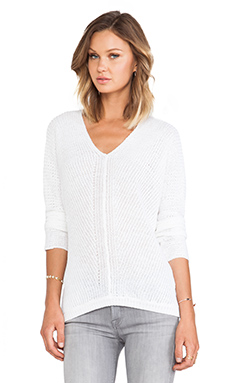 Vince Fashioned Vee Sweater in Optic White