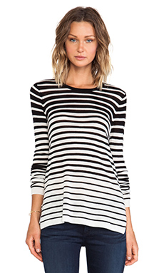 Vince Striped Crew Sweater in Black & White