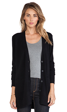 Vince Button V Cardigan in Black