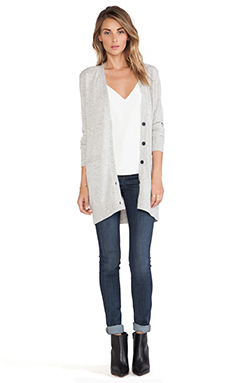 Vince Button V Cardigan in Heather Snow