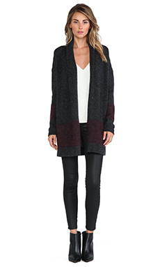 Vince Colorblock Cardigan in Graphite & Merlot