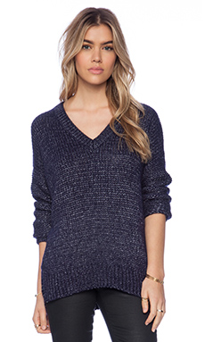 Vince Metallic Textured V Neck Sweater in Navy