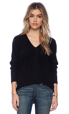 Vince Ladder Stitch Double V Sweater in Black
