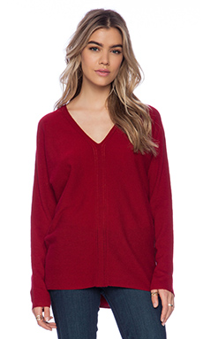 Vince Ladder Stitch Double V Sweater in Claret
