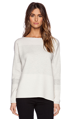 Vince Intarsia Block Sweater in Off White