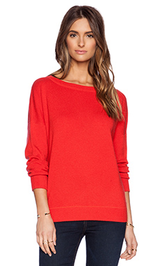 Vince Solid Rib Sweater in Tomato