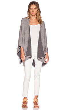 Vince Double Face Poncho in Heather Grey Combo