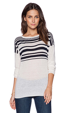 Vince Varigated Stripe Sweater in Off White & Coastal