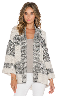 Vince Textured Cardigan in Husk & Heather Steel