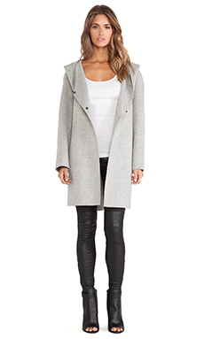 Vince Hooded Coat in Heather Metal
