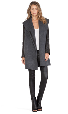 Vince Leather Sleeve Shawl Collar in Medium Dark Heather Grey