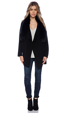 Vince Arctic Fox Fur Collar Drape Cardigan in Black