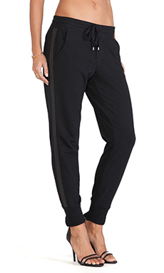 Vince Leather Strapping Pant in Black