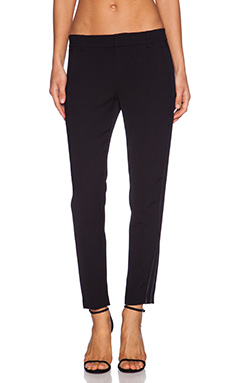 Vince Satin Bound Easy Trouser Pant in Black