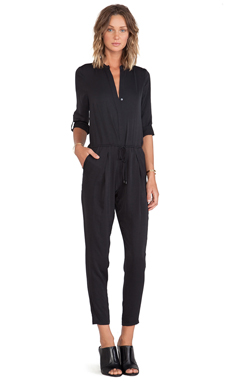 Vince Long Sleeve Jumpsuit in Black