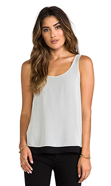 Vince Double Layer Tank in Ivory & Black