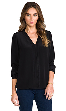 Vince Picot Edge Blouse in Black