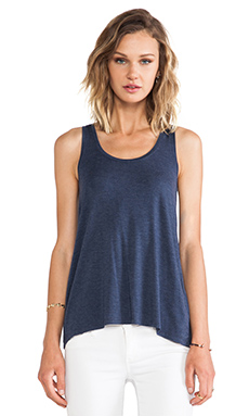 Vince Drape Hem Tank in Heather Coastal