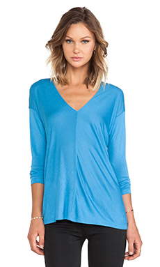 Vince Long Sleeve V-Neck Top in Cote D'Azure