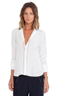 Vince Long Sleeve Button Up in Off White